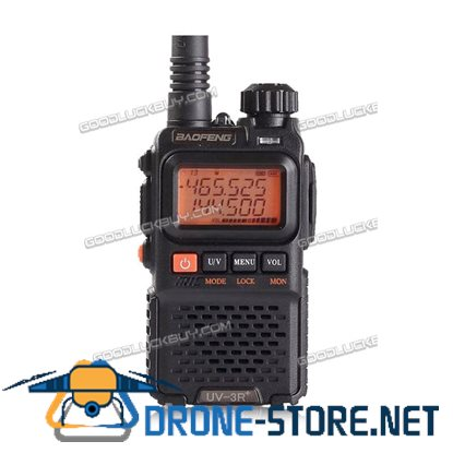 BAOFENG Black UV-3R+ PLUS Dual Band Radio 136-174/400-470MHz+PPT Earpeice