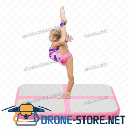 100*60*10cm Inflatable Mats Air Tracks Floor Home Gymnastics Tumbling Mat GYM + Pump Pink