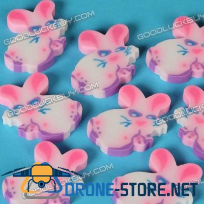 Colorful Cartoon Rabbit Eraser Rubber Toy Gift 1 Pack of 6