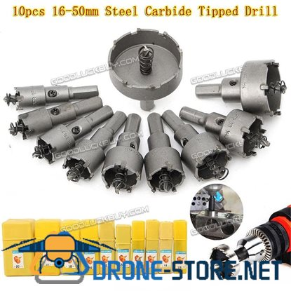 13PCS Carbide Tip TCT Drill Bit Hole Saw Set Stainless Steel Metal Alloy 16-53MM