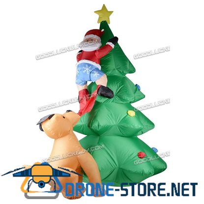 1.8m Inflatable Christmas Tree Santa Claus Dog Xmas Decorations AC100-240V K3Q1