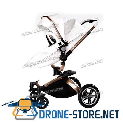 New Baby Stroller 2 in 1 Leather Carriage Infant Travel Foldable Pram Pushchair White