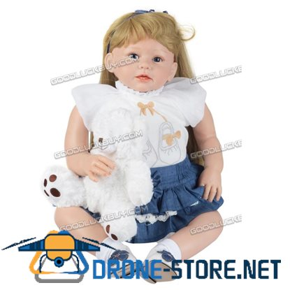 "29"" Reborn Lifelike Toddler Silicone Girl Blonde Hair Newborn Baby Doll w/ Clothes"