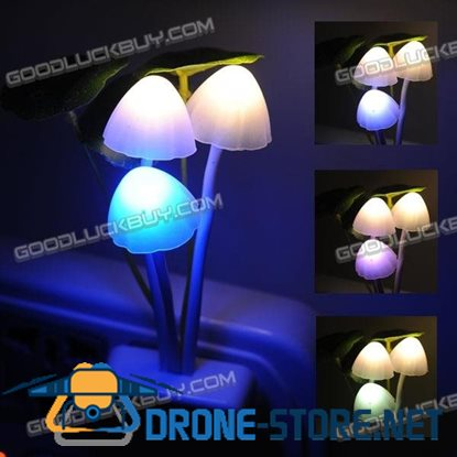 3 Colours Romantic LED Mushroom Dream Night Light Bed Lamp