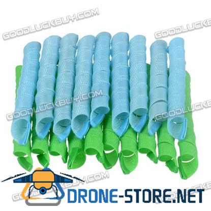50cm DIY Beauty Hair Curler Tool Spiral Ringlets Former Circle Roller (Blue+Green) 40pcs