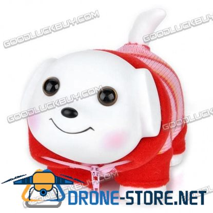 Lovely Puppy in Colorful Clothes Saving Coins Money Bank - White