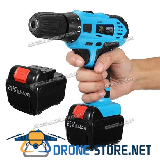21V Cordless Electric Drill 2 Speed LED Brushless Tool Kit w/ 2 Li-ion Battery