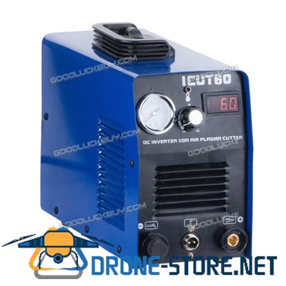 CUT60 60A 220V Digital Inverter DC Air Plasma Cutter 23mm Cut Machine w/ Gauge Blue