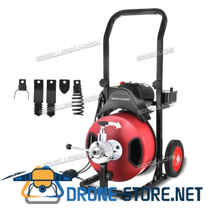 "Commercial 50FT 1/2"" Electric Drain Auger Drain Cleaner Machine Snake w/ Cutter"