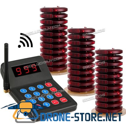 999CH Restaurant Wireless Paging Queuing Calling System Transmitter+30pcs Coaster Pagers