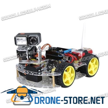 WiFi 4WD Four-wheel Drive 720P Camera Video Smart Car Robot Kit with Router Gimbal