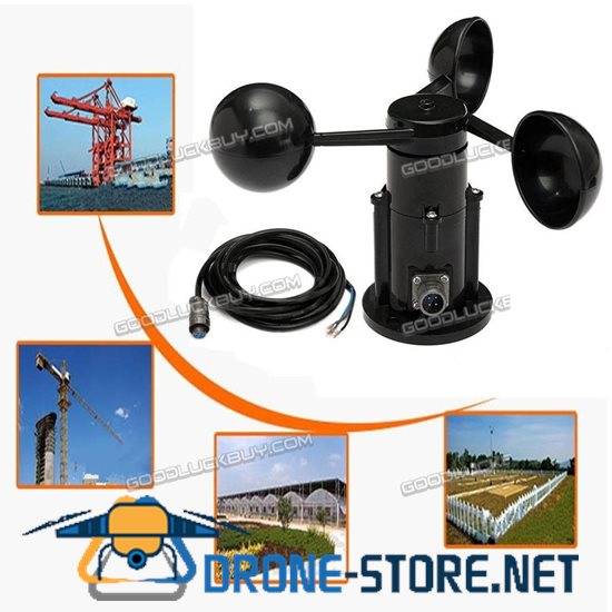 Wind Speed Sensor Anemometer Three Cups Voltage Output 0-5V w/ Cable