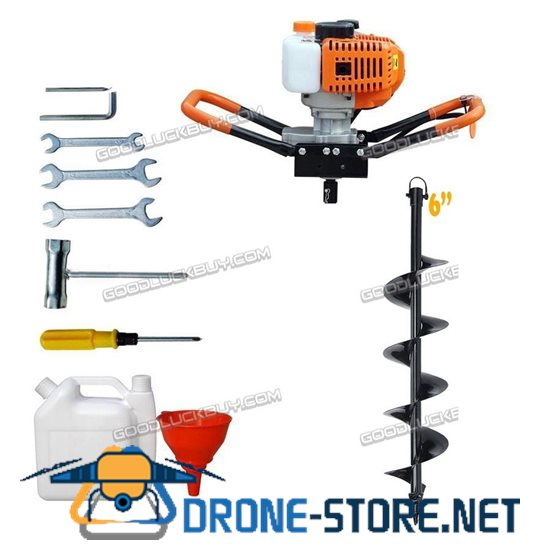 """2.2HP Gas Powered Post Hole Digger with 6"""" Earth Auger 52CC Power Engine"""