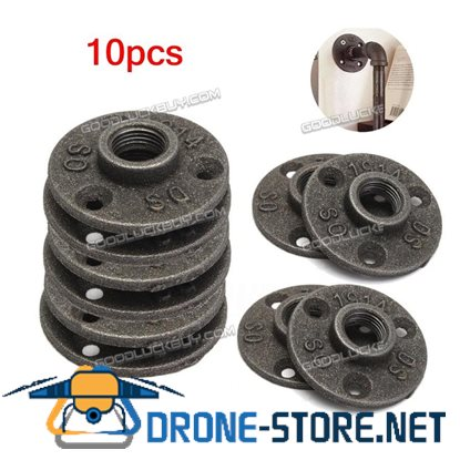 10Pcs 3/4'' Flange Malleable Threaded Iron Pipe Fittings Floor Flange Wall Mount