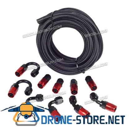 AN6 Braided Gas/Fuel/Oil Line Hose with Hose Fitting Kit Fuel Line Kit 16.4FT Black
