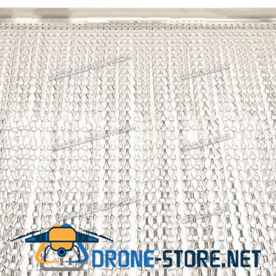 Metal Aluminium Chain Fly Pest Insect Door Screen Curtain Control Silver 120cm*210cm