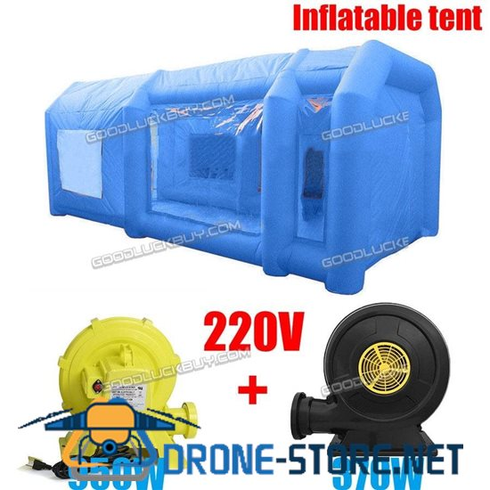 Blue Inflatable Spray Booth Custom Car Paint Tent 12*5*4 + 2 Blowers
