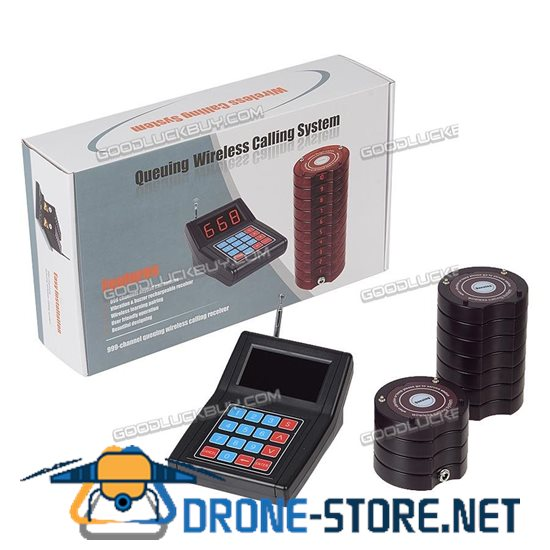 Restaurant Wireless Calling Paging System Transmitter+10*Coaster Pager Fast Food