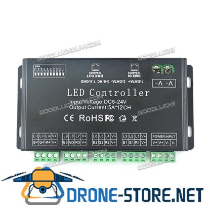 12 Channel DMV512 LED Controller Decoder Dimmer 5V-24V Lighting Project Power