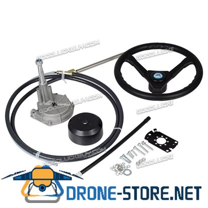 10FT Marine Engine Turbine Rotary Steering System Boat Mechanical Cable & Wheel