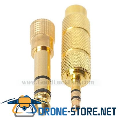 Gold Plated 6.3mm Male to 3.5mm Female + 3.5mm Male to 6.3mm Female Audio Connectors