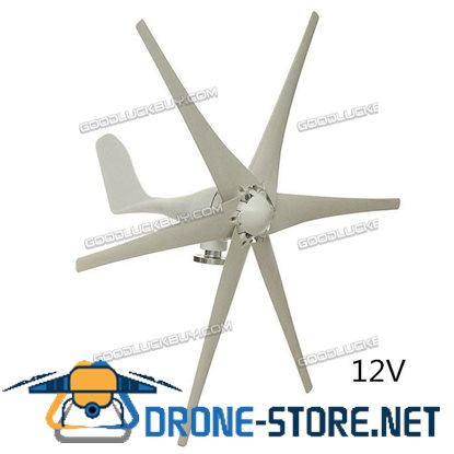 800W 12V 6 Blades Wind Turbine Generator Horizontal Residential Home with Controller
