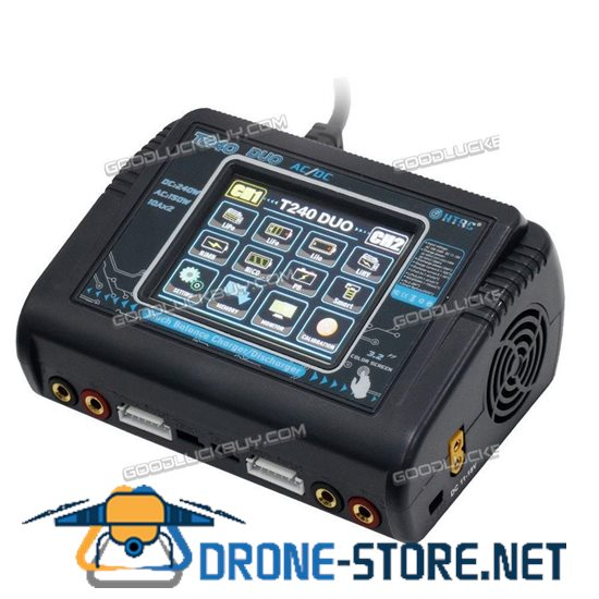 HTRC T240 AC 150W DC 240W Touch Screen Dual Channel RC Car UAV Drone Balance Charger