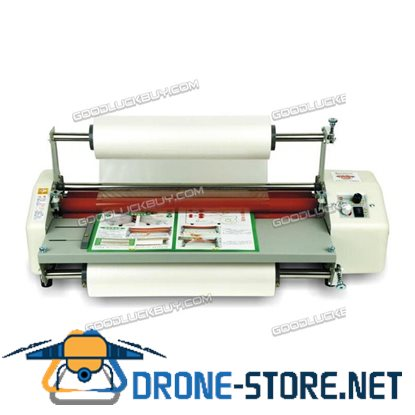 """17.5"""" A2 Roll Laminator Speed Adjustable Four Roller Hot Cold Laminating Machine"""