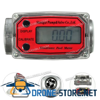 1'' Digital Turbine Oval Gear Turbine Diesel Flow Fuel Gauge Meter 15-120L / Min Red