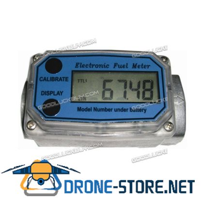 1'' Digital Turbine Oval Gear Turbine Diesel Flow Fuel Gauge Meter 15-120L / Min Blue