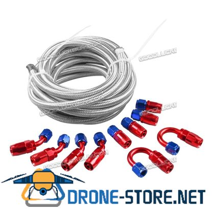 AN6 Braided Gas/Fuel/Oil Line Hose with Hose Fitting Kit Fuel Line Kit 16.4FT