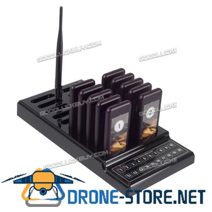 Restaurant Wireless Coaster 10 Pagers Guest Waiter Call Paging Queuing System