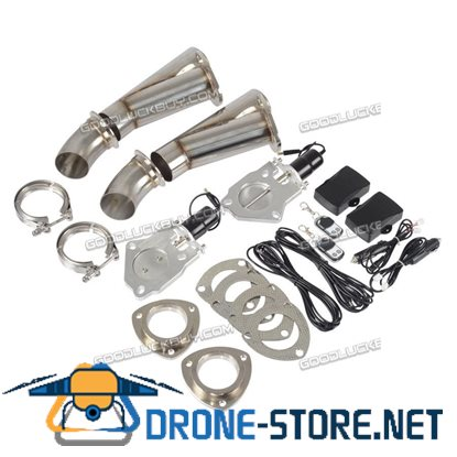 """2X 2.5"""" Inch 63mm Electric Exhaust Muffler Valve Cutout System Dump Remote"""