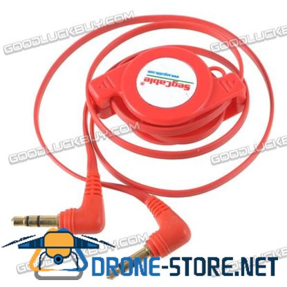 3.5mm Retractable Stereo Audio Extension Cable Male to Male 65cm Red